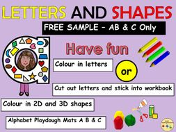 Alphabet Letters and Shapes Link  Worksheets Cut and Paste Alphabet Play dough Mats