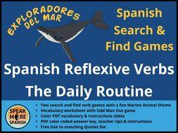 Juego de Presente de Verbos Reflexivos  * Games and Vocabulary for Spanish Reflexive Verbs