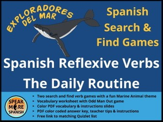 Juego de Presente de Verbos Reflexivos  * Games and Vocabulary for Spanish Reflexive Verbs