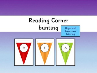 Reading Corner Bunting Display - bright stripes