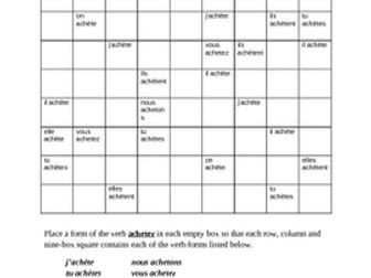 Acheter French verb Present tense Sudoku