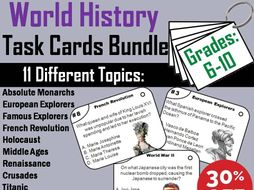 World History Task Cards Bundle