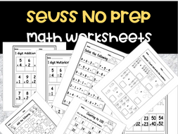 Seuss Math Worksheets No Prep