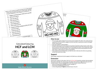 Christmas Calculated Colouring (HCF and LCM)