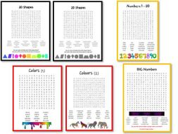 Shapes Colours and Numbers wordsearches
