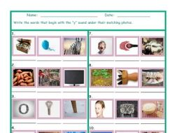 Phonics Y Sound Photo Worksheet