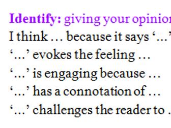 Reading ladder sentence starters - higher level analysis