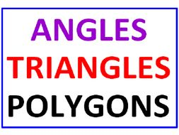 Angles, Triangles and Polygons (3 Worksheets)
