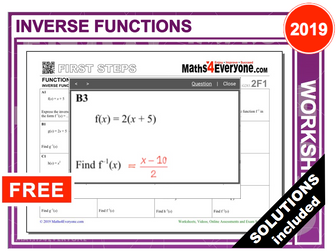 Inverse Functions (Worksheet with Solutions)