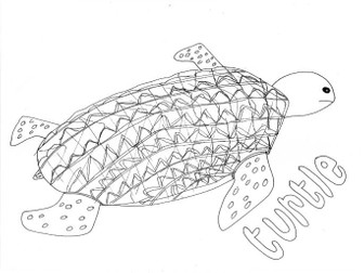 Turtle: Animals and Pets: Colouring Page