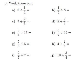 Dividing fractions and whole numbers worksheet (with solutions)