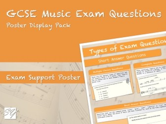 Types of Exam Question Poster for Pearson Edexcel GCSE Music (9-1) (2016 Specification)