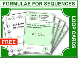 Formulae for Sequences (Loop Cards)
