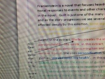 AQA Lit.(2017)Frankenstein question, planning, model answer with commentary and extension