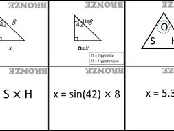 Trigonometry - card sort - all three ratios - all three types (labelled bronze; silver; gold)