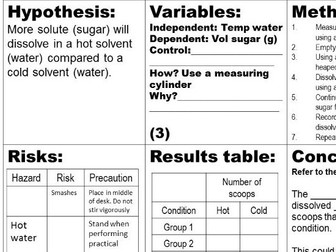 Thinking Scientifically - Controlled Assessment practise - Equipment, Control Variable, Risk