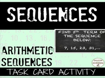 Arithmetic Sequences: Task Cards for Practice & Review (HSF.BF.A.2.)