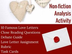 Famous Love Letters A Close Reading Creative Lesson For