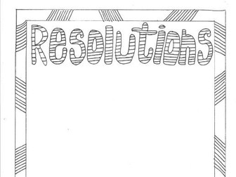 New Year Resolutions  Colouring Page