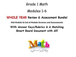 Grade 1, WHOLE YEAR Modules 1-6, Mid & End of Mod Reviews & Assessments BUNDLE!