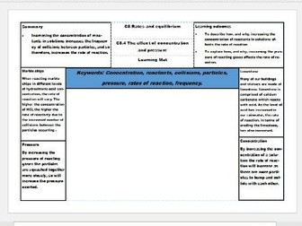 New AQA Science GCSE Chemistry Learning Mats – Rates and equilibrium