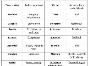 AQA GCSE Spanish vocabulary – Me, my family & friends – match up cards