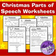 Christmas Parts Of Speech Grammar Worksheets Nouns Verbs
