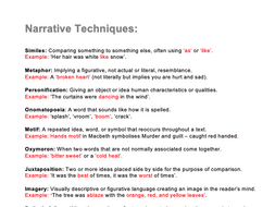 Narrative Techniques List - KS3/4/5