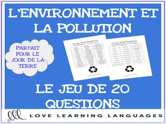 L'Environnement - French 20 Questions Game - Le Jour de la Terre - Earth Day