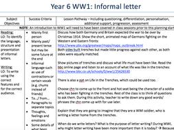 Year 6 WWI Informal letter plan