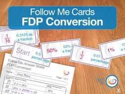 Fractions Decimals and Percentages Conversion Follow Me Cards