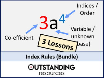 Number: Index Rules (Indices) Bundle - 3 Lessons