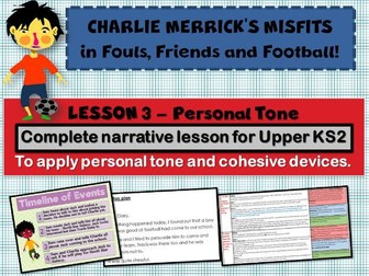 Diary Writing 3 - Personal Tone- CHARLIE MERRICK'S FOOTBALL  MISFITS - COMPLETE LESSON