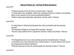Edexcel Politics 3C - All Past 45 Mark Questions