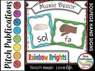 Music Decor - RAINBOW BRIGHTS - Curwen Solfege Hand Signs, Diatonic & Chromatic