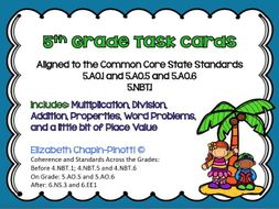 5th Grade Math Task Cards -- 35 in All -- with Standard Links to 4th and 6th As Well