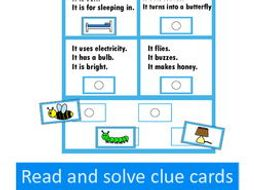 Autism and Special Education Reading Comprehension Clue Cards- US Version