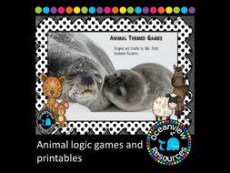 Animal logic games and Printables