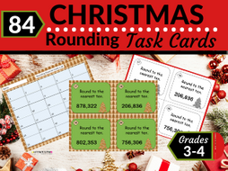 Christmas Math Task Cards-Rounding Whole Numbers