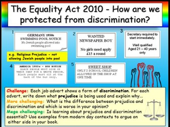 The Equality Act 2010 + Discrimination