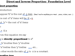 Direct and Inverse Proportion Foundation GCSE (9-1)