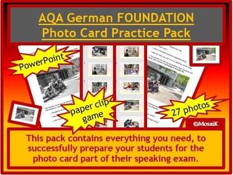 AQA German GCSE Speaking FOUNDATION photo card pack