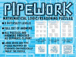 PIPEWORK - MATHEMATICAL LOGIC / REASONING PUZZLES with ANSWERS, CLIPART & STUDENT GRIDS