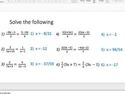 Solving Equations With Algebraic Fractions Lesson Series By