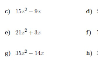 Factorising into single brackets worksheet no 3 (with answers)