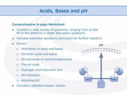 Acids, Bases and pH Worksheet | Teaching Resources