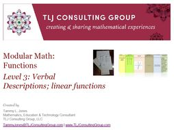 Modular Math Functions Level 3 Verbal Descriptions and Linear Functions