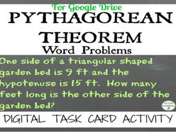 Pythagorean Theorem Word Problems Digital Task Card Activity