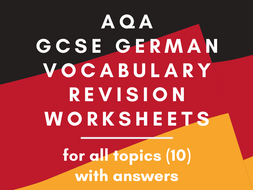 GCSE German Vocabulary Revision Worksheets BUNDLE By Topic