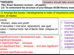 Eduqas/WJEC GCSE History Germany 1919-1991 exam question revision PowerPoint & worksheet